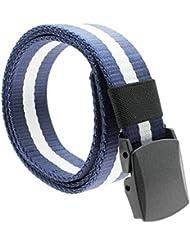 VANKER Correa de los hombres al aire libre de la lona con plástico automática Cinturón occidental de la correa de la correa -- Azul y Blanco