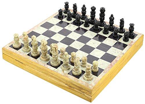 Handgemachte Indische Schachspiel - Schach Spielen Mit Specksteinschachfiguren & Stein Und Holz Schachbrett - Einzigartige Schachfiguren Und Bretter Für Geschenke