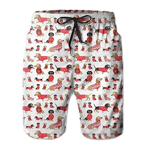 Fashion Men's Beach Pants Dachshunds In Christmas Sweaters Knee Length Men's Beachwear Board Shorts Swim Trunks,L -