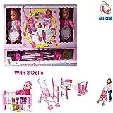 G4RCE® Baby Doll Nursery Playset Toy Cot Crib Stroller High Chair Dolly Play Set Xmas Birthday Gift Set