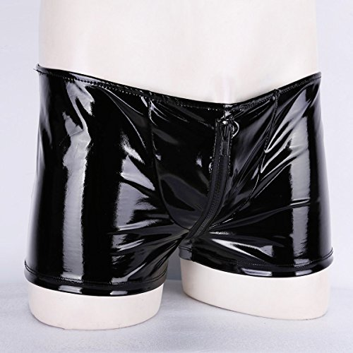 iixpin Herren Männer Boxershort Wetlook Lack Leder Unterwäsche Badehose Stretch Boxer Briefs mit offener Hintern M-XL Schwarz Large - 4