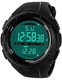 Digital montre de sport pour homme–5bars étanche militaire numérique montres avec alarme/minuteur/Sig, Noir Large Face Outdoor Sport LED montre bracelet pour homme par Bhgwr