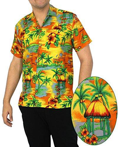 La Leela hawaii paradiso morbido likre campo sulla spiaggia arancione camicia hawaiana per uomo xs