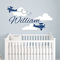 Airplane Wall Decal - Clouds Name Vinyl Sticker Personalized Custom Name Biplane Clouds Wall Decals Plane Kids Children Name Nursery Boys Room Decor