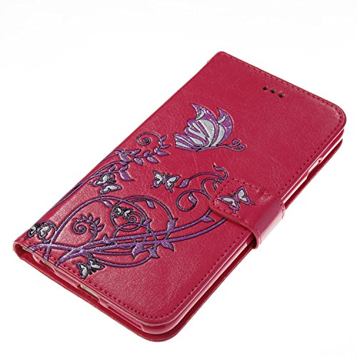 Color Printing Embossing Blumen Muster PU Leder Geldbörse Case Cover Tasche [Magnetverschluss] mit Card Slots & Lanyard & Halter & Kickstand Für iPhone 6 Plus & 6s Plus ( Color : Pink ) Rose