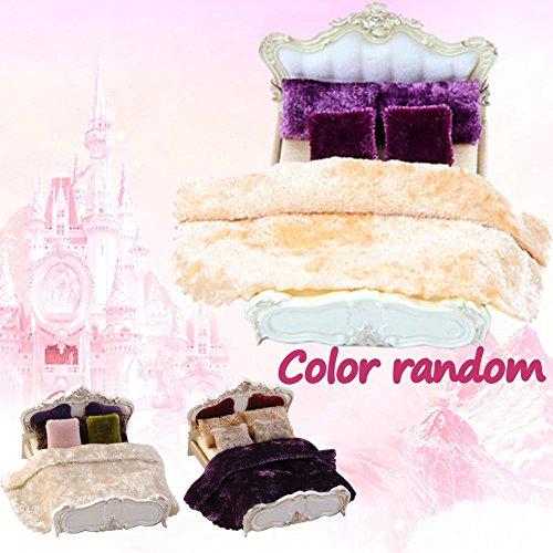 Wohnzimmer-zubehör-set (Barbie Bett Puppenhaus für barbie Möbel Bett 1/25 Mini Quilt * 1,Kissen * 4, Bett*1 Blatt Kissen Set für Barbie Puppen Haus Schlafzimmer/Wohnzimmer Deko Zubehör)