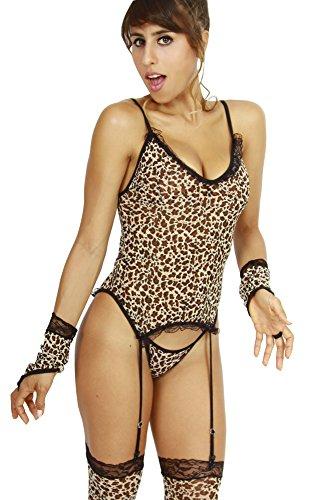 Outfit Sexy Animal (HO-Ersoka Damen Dessous Set aus Strapshemd, String, Armstulpen und Strümpfen im Leopard)