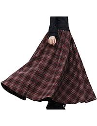 ba366ece316f BININBOX Damen Kleid Falten Rock Woll Rock Tellerrock Lange Verdichter Rock  Herbst Winter Skirt