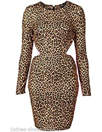 Topshop Sexy Animal Leopard Print Pink Fluro Trim Cut Out Bodycon Fitted  Top Dress Size 16 9f45a4cc3