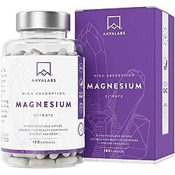 Suplemento de Citrato de Magnesio [ 400 mg ] de AAVALABS - Aumenta Testosterona Energía Rendimiento Deportivo Reduce Cansancio Mejor Sueño Alta Concentración - Vegano - 180 Cápsulas