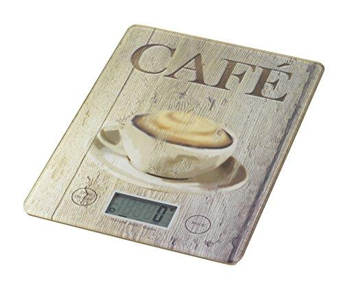 WENKO 25221100 Küchenwaage Slim Café - elektronische Digitalwaage mit Sensor-Tastatur und Tara-Funktion, Gehärtetes Glas, 14 x 1.2 x 19.5 cm, Multicolor