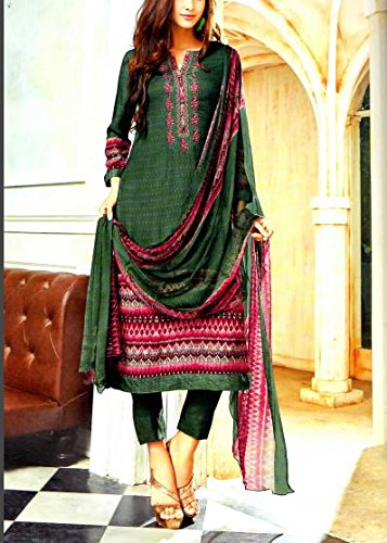 JAM SILK COTTON GREEN COLOR SUIT WITH EMBROIDERY DEEPSY DESIGNS WITH CHIFFON...