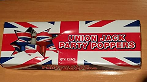 Union Jack Party Poppers / Package of 12 / White,