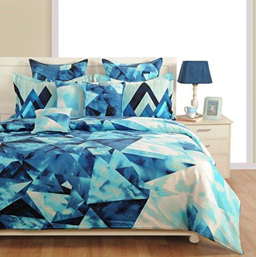 Yuga 2 Stück Set Dekorfolie blau Twin-Size-bedruckter Baumwolle Bett mit Kissenbezug