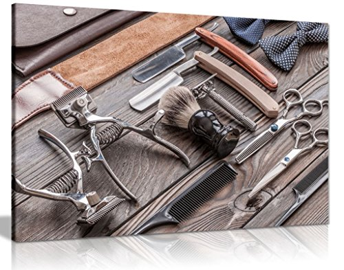 Barber Shop Kunstdruck, Vintage-Tools Canvas Wall Art Print Bild, A4 31x20cm (12x8in) (Wandbild 12x8)