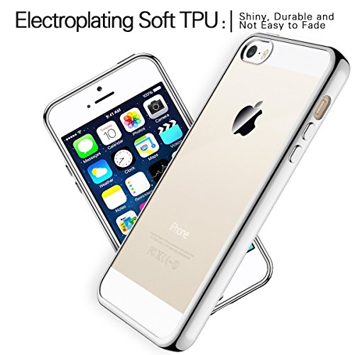 iPhone SE Hülle, iPhone 5S Tasche, Coodio Chrome Plating Bumper TPU Handyhülle Case für iPhone SE / 5S / 5 Tasche Schutzhülle Silikon Cover Durchsichtig für iPhone SE / 5S / 5 - Silber Silber