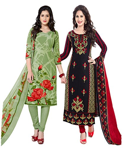 Ishin Combo of 2 French Crepe Multicolor Daily Wear Party Wear Wedding Wear Casual Wear Bollywood New Collection Latest Design Printed Trendy Unstitched Salwar Suit Dress Material (Anarkali/Patiyala)