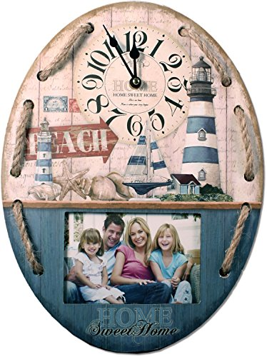 Wanduhr mit Bilderrahmen 39 cm Nostalgie Uhr maritim