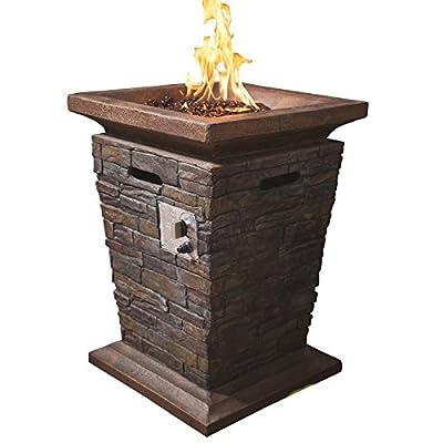 RoyalFire RFJC20504GF-NS Square Fibreglass Tall Gas Fire Pit - Natural Stone