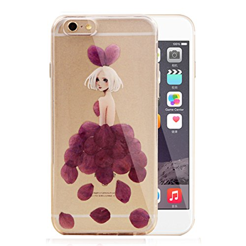 Coque pour iPhone 6/6S,iPhone 6S Or Coque en Silicone Clair Ultra-Mince Etui Housse avec Bling Diamant,iPhone 6 Placage Coque Bling Bling Glitter Sparkle Diamond Silicone Case Rose Gold Slim Soft Gel  Fleur réel fille-pourpre
