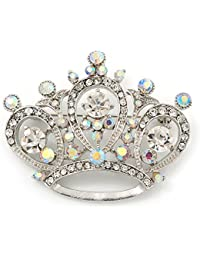 Claro y cristal AB 'princesa' corona broche en Metal chapado en Rodio - 4,5 cm, longitud de la