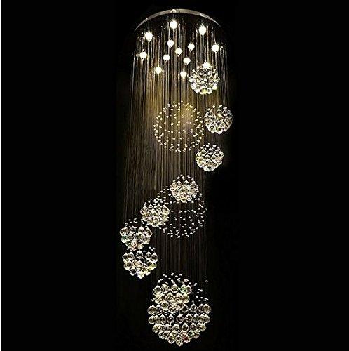 Gowe NEUF moderne 11 pcs Lustre Boule de cristal Motif chandelier Grande ampoules de cristal lumières D80 * H300 cm ampoules LED