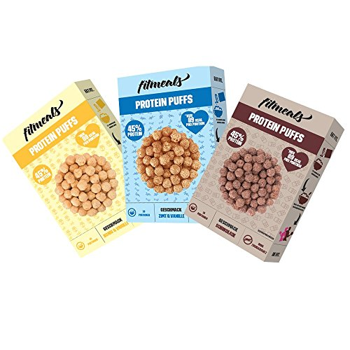 fitmeals Protein Puffs, Frühstückscerealien mit Erbsenprotein, ohne Zucker & proteinreich (Probierpaket, 3 x 225 GR)
