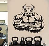 xutongrui 62X57 cm Gym Bull Barbell Fitness Wandaufkleber Vinyl Home Decor Abnehmbare Innen Aufkleber DIY selbstklebende Flugzeug Tapete Wandbild