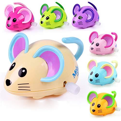 DishyKooker Lustiges Aufzieh-Spielzeug, Cartoon-Maus mit Uhrwerk, Auto, gleitend, Lernspielzeug, Vintage-Spielzeug, Oyuncak-Dose, zufällige Farbe -