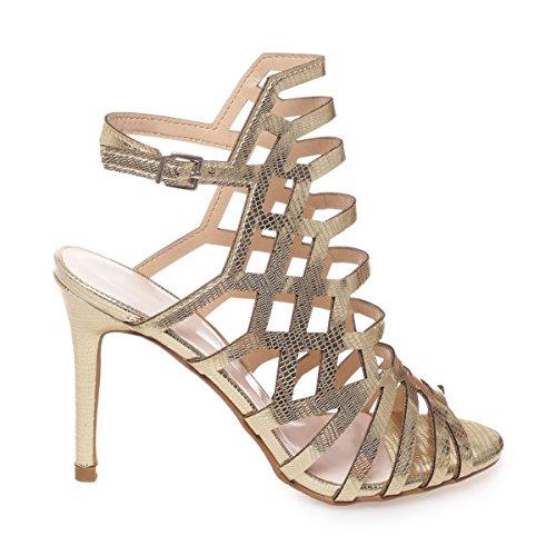 La Modeuse - Sandales aspect métallisé à talon aiguille Doré