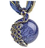 Yidarton Collier Fantaisie Femme - Vintage Boheme Collier Bijoux - De Mode Pull Paon Cristal en Pendentif (navy)...