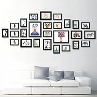 Yorbay Portafoto multiplo da parete Cornice per foto in Legno Set di 26 pezzi (Nero)