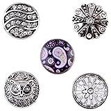 Morella® Damen SMALL Click-Button Set 5 Stück Druckknöpfe 12 mm Ø Eule Paisley und Azteken Motive