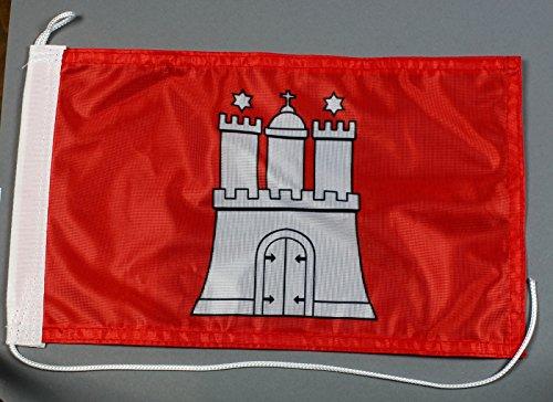 Bootsflagge Hamburg 20 x 30 cm in Profiqualität Flagge Motorradflagge
