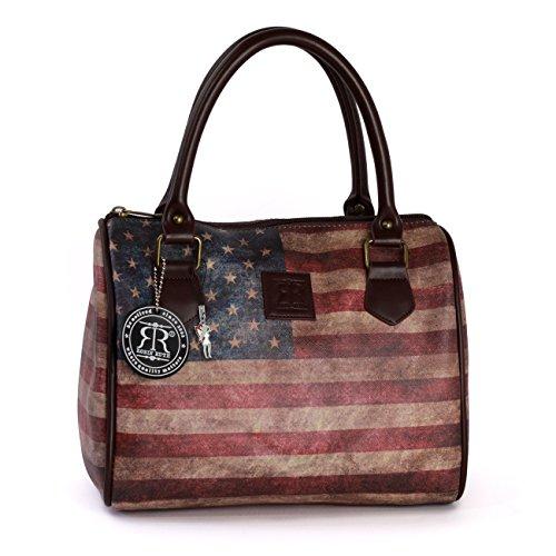 DrachenLeder Robin-Ruth OTG103F - Borsa elegante in ecopelle, stile vintage, motivo: USA, multicolore