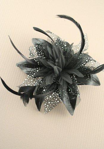 & Schwarz Blume aus chiffon und Federn, fascinator auf Kamm Haar-Zubehör). Ideal für Hochzeiten, Pferderennen oder andere besondere - Hüte Mutter Braut Der