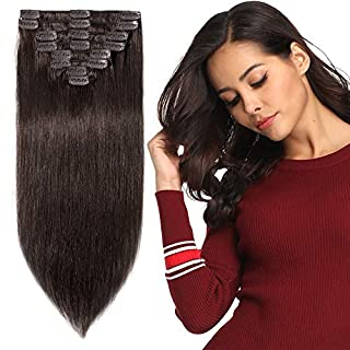 Real Hair Extensions Human Hair Clip in Full Head Darkest Brown - 100% Remy Hair Straight - Standard Weft - 8 Pieces (18