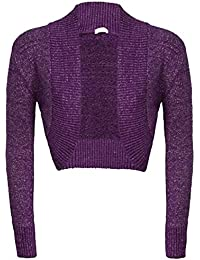 Damen Langärmliges Strick Shrug Glitter Bolero Cardigan Frauen Glitter Top