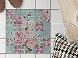 Fliesendekor, Bad Bodenfliesen | Fliesenaufkleber Folie Sticker Küche Bad Fliesenposter Kellerfliesen | 10x10 cm Muster Ornament Durch die Blume - 9 Stück
