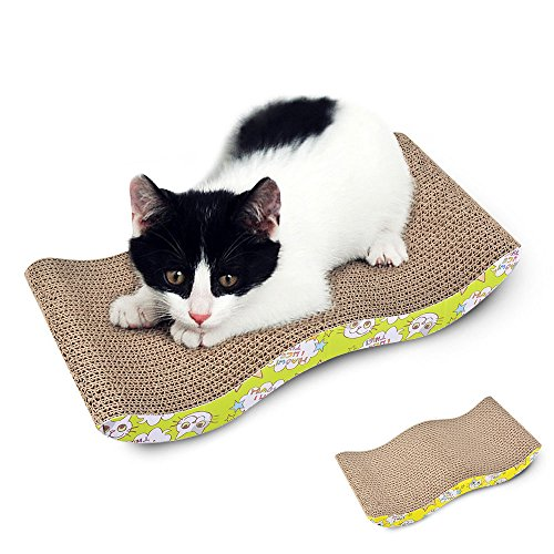 AiQInu Kratzbrett Pappe M Type Pappkratzbrett 43 x 22 x 7 cm Cat Scratching Board Post Wellpappe Zweifarbiger Front in Grün und Gelb Kratzmatte Pappe Haustier Spielzeug Katzenmusters Kratzlounge (Pad Gelb Front)