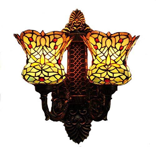 Tiffany Style Wandleuchte, handgeschweißte Glasmalerei Doppelkopf Wandleuchten, Western Restaurant Cafe Restaurant Bar Retro Wandleuchte yd&h -