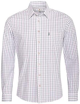 Almsach Trachtenhemd Lenard Slim Fit Mehrfarbig in Weiß, Lila und Dunkelgrün Inklusive Volksfestfinder