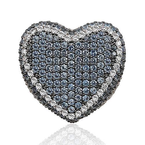 MXMYFZ Hip Hop Ring Fashion Love Farbe Herrenring 3A Zirkon Trendy Hip Hop Ring Herren Bling Ice Out Ring Schmuck,Blue,11# (10-karat-gold Pinky Ring)