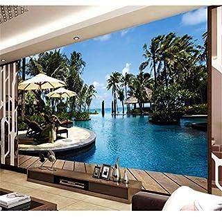 Fiartel 3d wallpaper benutzerdefinierte fototapete vlies open-air schwimmbad meerblicke tv wandmalerei wohnzimmertapete für wände 3d-250X175CM