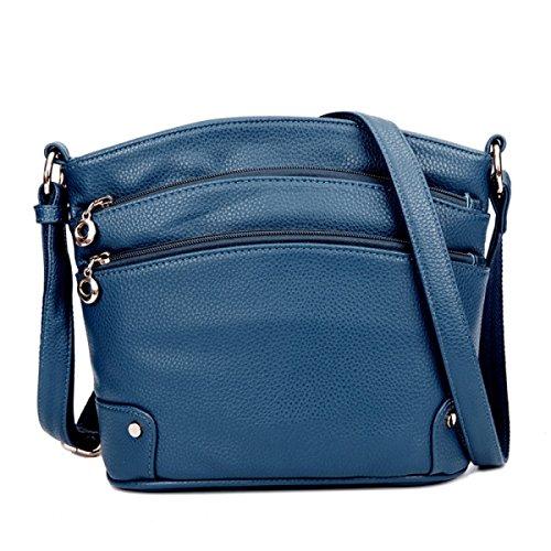 Donne Genuine Leather Colore Solido Tracolla Messenger Multi-pocket Zipper Handbags Blue