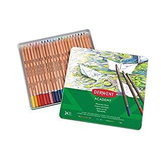 Derwent 2301942 Academy Watercolour Colouring Pencils, Set of 24, High Quality, Multicolor