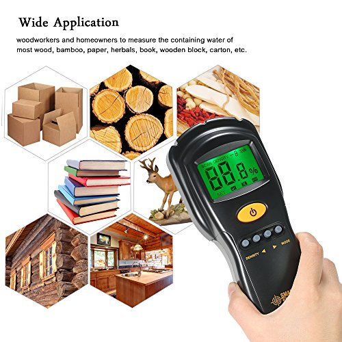 Holz Feuchtigkeit Tester, Hangang Smart Sensor Holz Feuchtigkeit Meter non-contacted, Kaminholz, Feuchtigkeit Tester mit Level 4Messbereich 2~ 70%