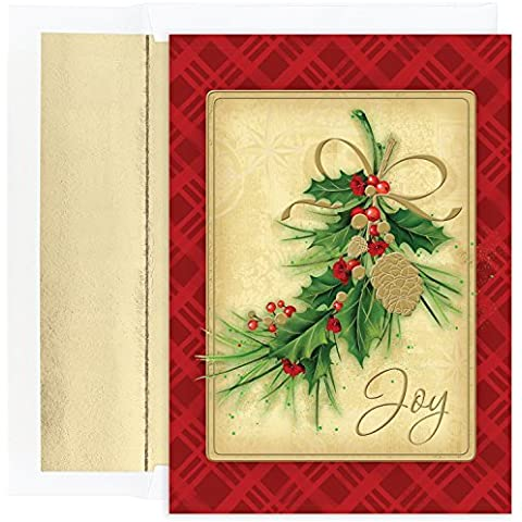 Masterpiece Studios Boxed Cards, 16-Count, Pinecone and Holly (855000) by Masterpiece Studios