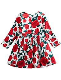 Vestiti della Ragazza della Chiusura Lampo del Vestito da Partito della  Stampa Floreale dei Bambini delle Neonate dei… 4f80f633d3c