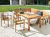SAM® Teak-Holz Gartengruppe 4 tlg., aus 1 x Ausziehtisch 2 x Gartenstühle und 1 x Eckbank, hochwertige Teakholz-Sitzgruppe für bis zu 8 Personen [521218]